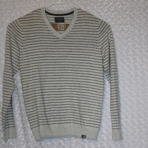 Aeropostale Gray Striped V-Neck Sweater Large